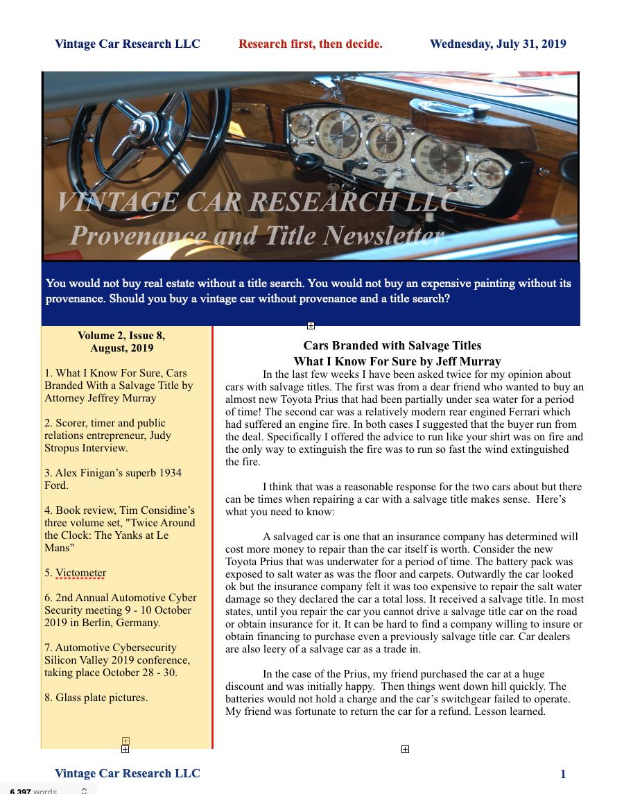 Vintage Car Research Newsletter